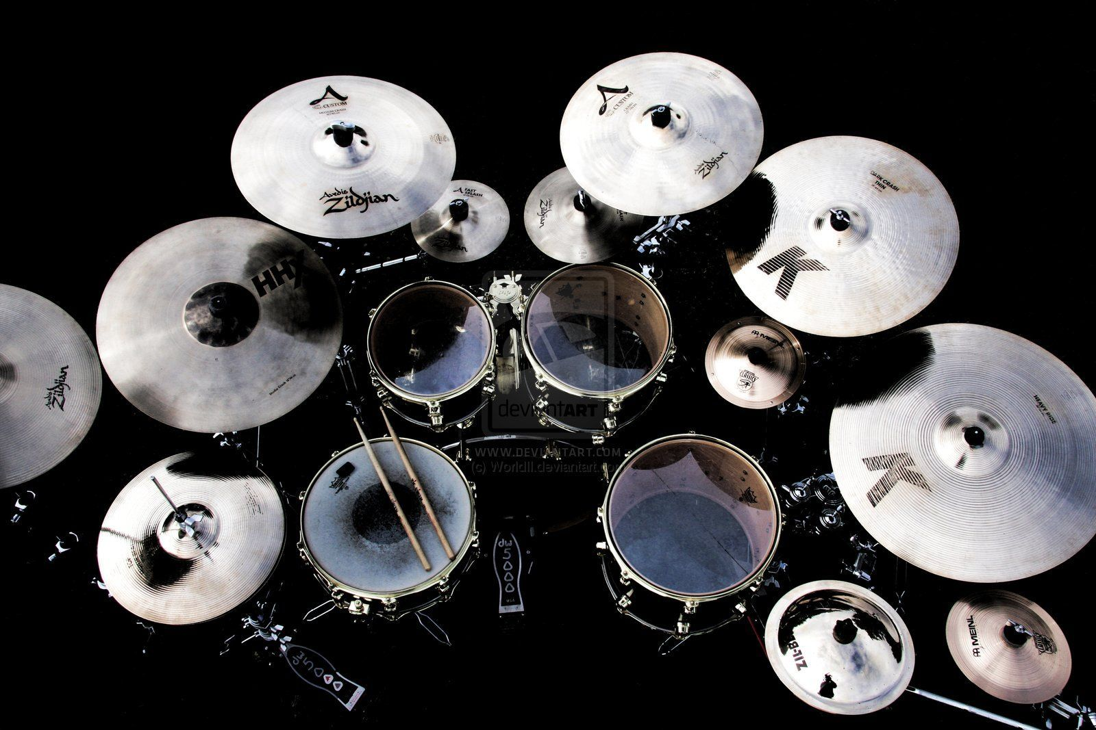 black drum set musical instrument widescreen computer background 1219