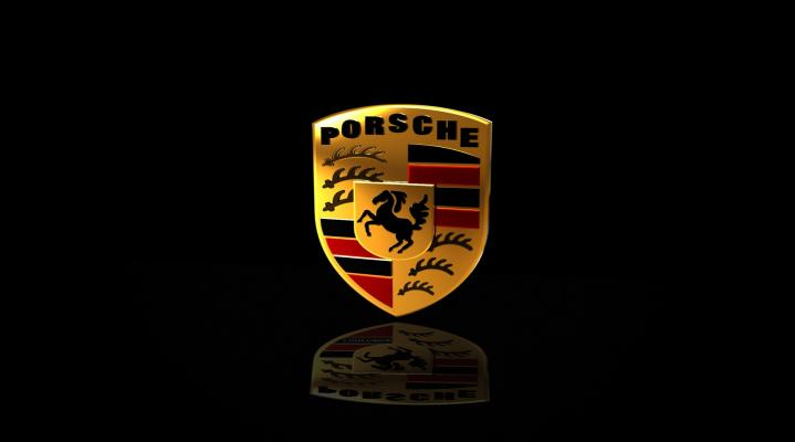 Black Porsche Logo Widescreen Desktop Wallpaper 934
