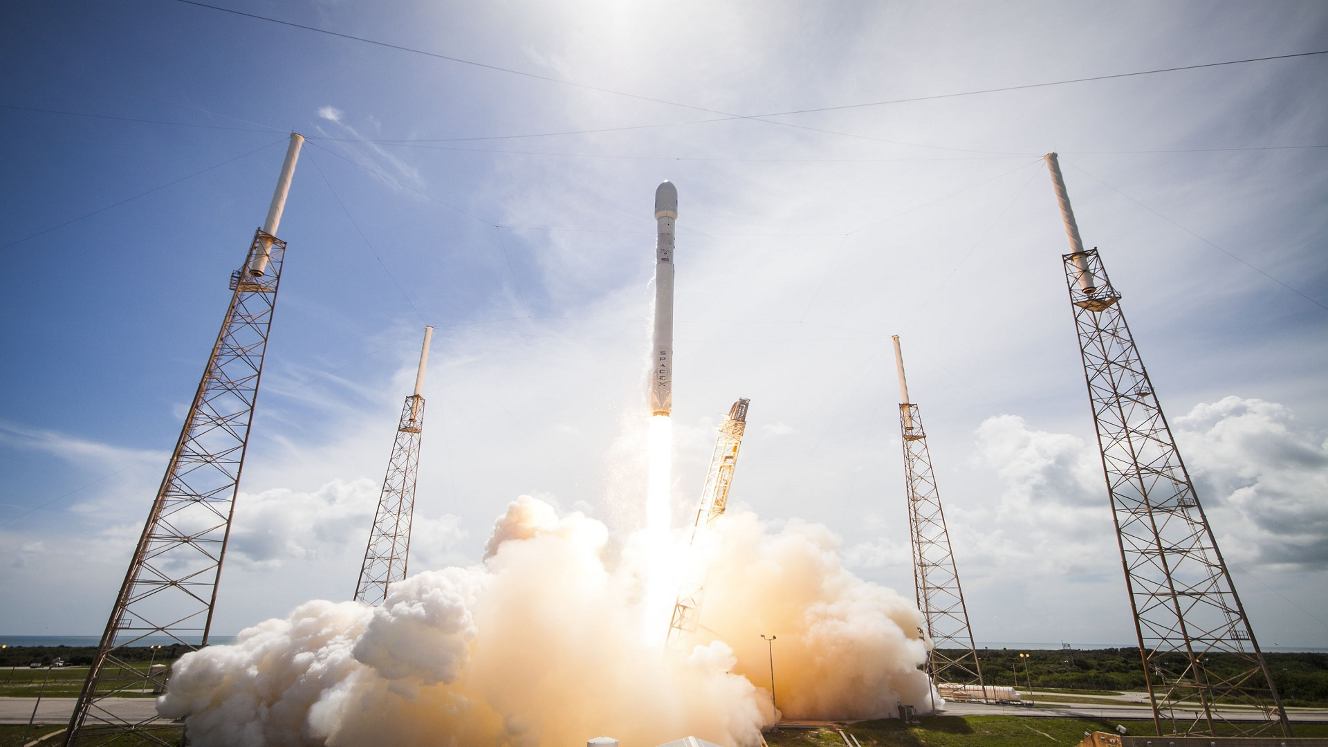spacex rocket taking off widescreen wallpaper 260