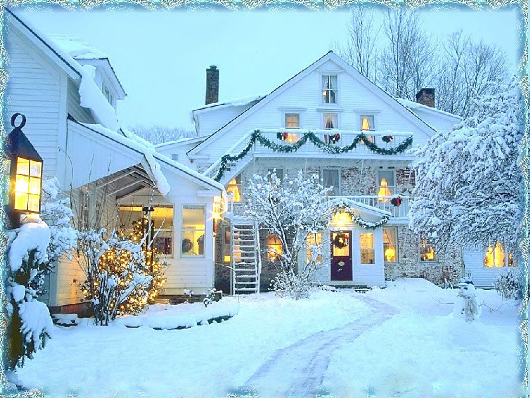 christmas winter snow house hd wallpaper 2026
