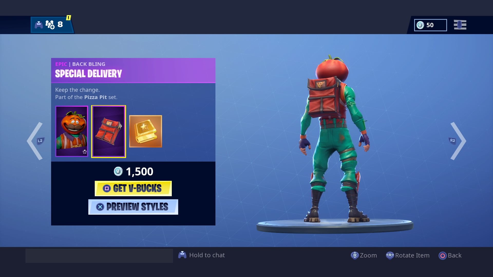 fortnite special delivery epic back bling4k wallpaper 2622