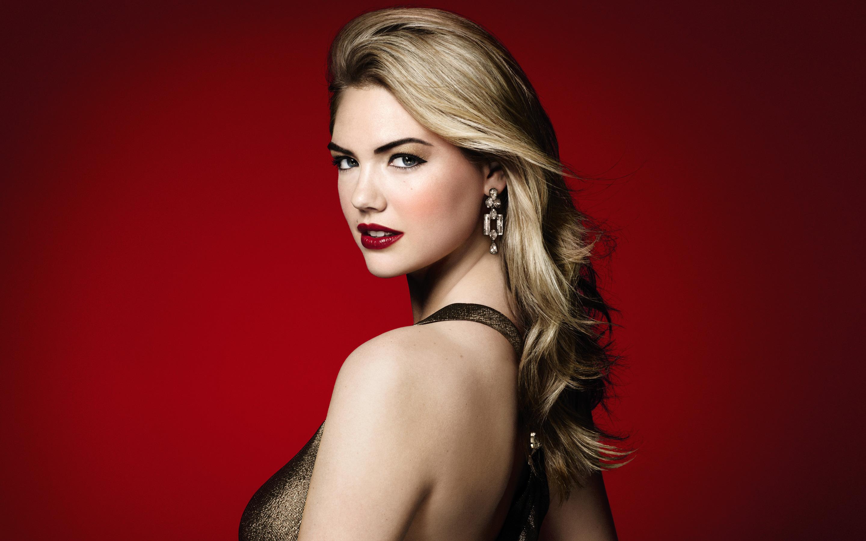 kate upton red lipstick 4k wallpaper background 2491