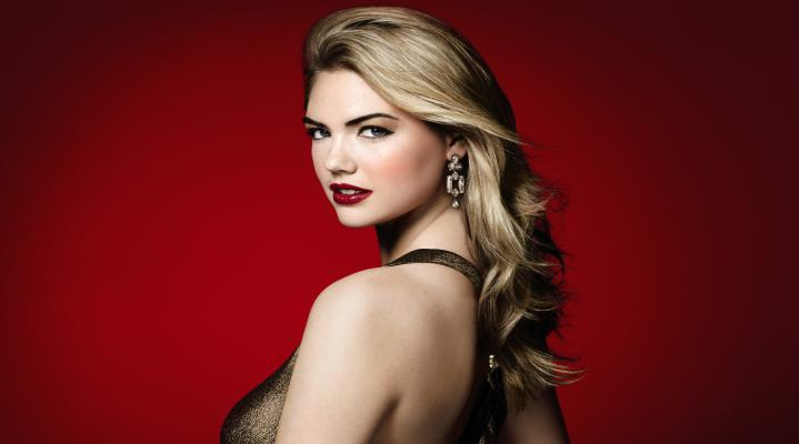 Kate Upton Red Lipstick 4K Wallpaper Background 2491